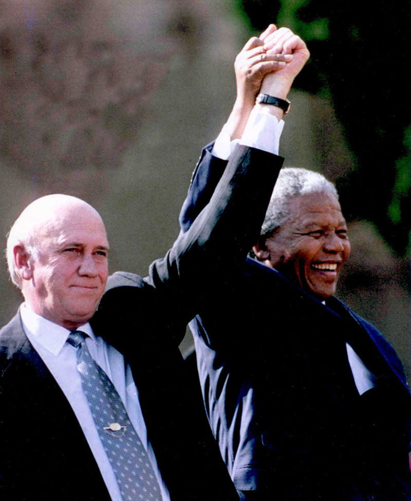 FW de Klerk and Nelson Mandela