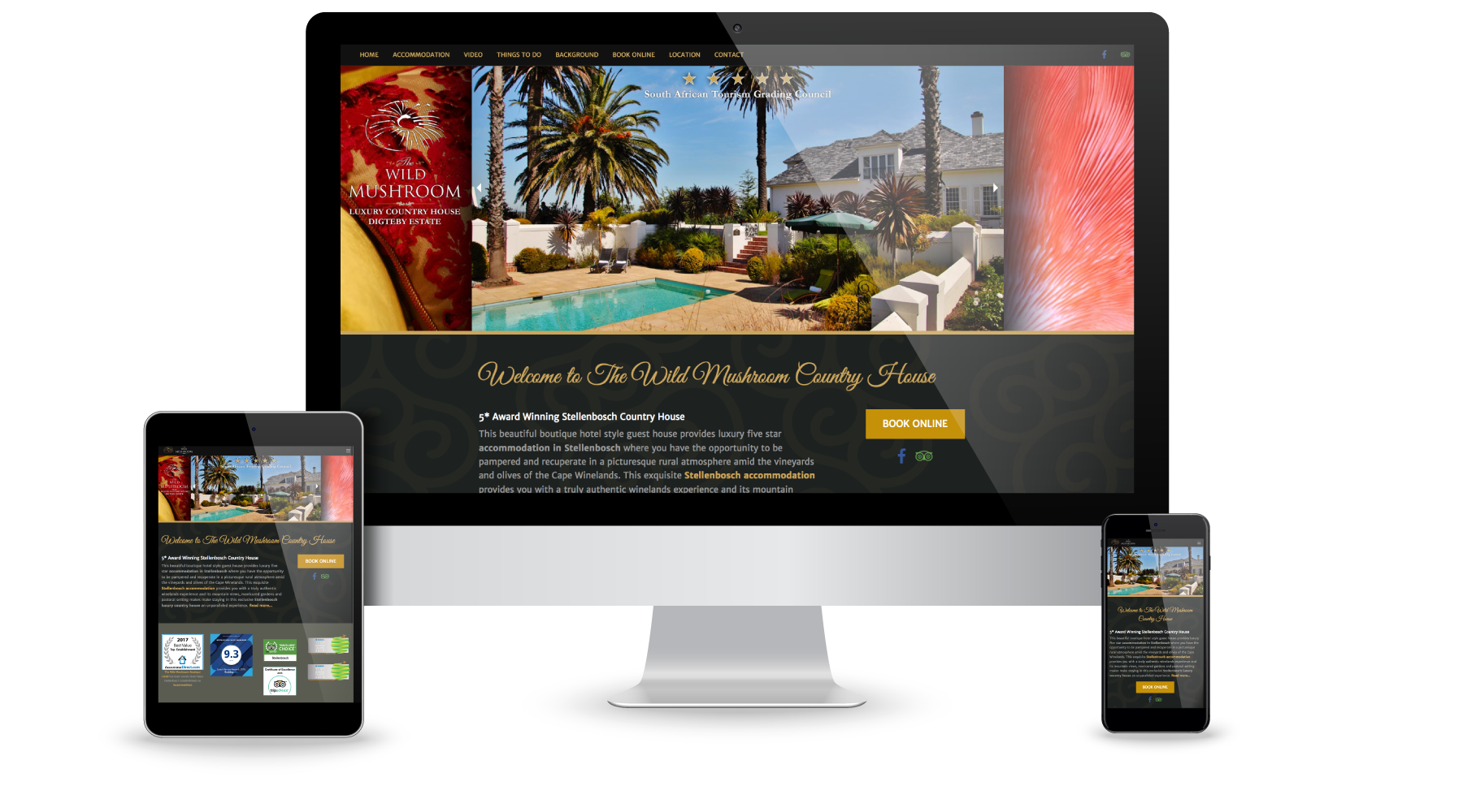 Website design for Wild Mushroom Luxury Stellenbosch Accommodation